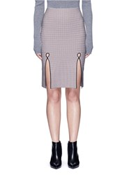 Alexander Wang Keyhole Split Houndstooth Knit Pencil Skirt Multi Colour