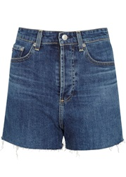 Alexa Chung For Ag Fifi Blue High Rise Denim Shorts Light Blue