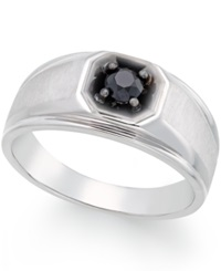 Macy's Men's Black Diamond Ring In 10K White Gold 3 8 Ct. T.W.