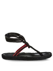 Isabel Marant Lesley Ankle Strap Rope Sandals Black Red
