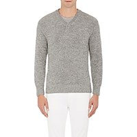 Inis Meain Men's Baby Alpaca Silk V Neck Sweater Grey