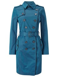 Jacques Vert Contrast Trim Trench Coat Dark Green