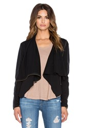 Bobi Mixed Media Drape Front Sweater Black
