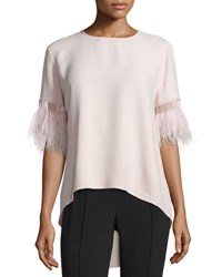 Andrew Gn Feather Fringed High Low Top White