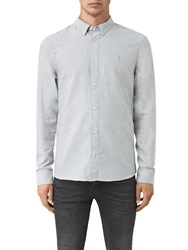 Allsaints Millard Slim Fit Long Sleeve Shirt Light Grey