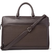 Ermenegildo Zegna Pelle Tessuta Leather Briefcase Dark Brown