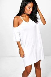 Boohoo Strappy Front Off Shoulder Swing Dress White