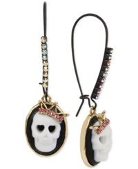 Betsey Johnson Two Tone Skull Cameo Pink Crystal Drop Earrings Two Tone