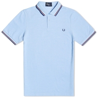 Fred Perry Slim Fit Twin Tipped Polo Light Smoke Oxford And Berry
