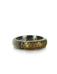 Azhar Yellow Cubic Zirconia And Sterling Silver Ring Black