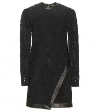 Tom Ford Leather Trimmed Lace Mini Dress Black