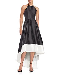 Carmen Marc Valvo Infusion Beaded Fit And Flare Halter Gown Black White