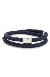 Miansai Men's Braided Leather Bracelet Navy Blue
