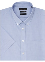 Austin Reed Plain Classic Fit Short Sleeve Button Down Formal Blue
