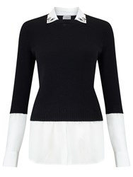 Marella Sofocle All In One Knit And Blouse Black White