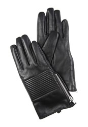 Jane Norman Black Quilted Leather Gloves S M