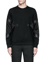 Neil Barrett Quilted Satin And Leather Panelled Sweatshirt Black