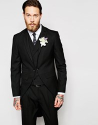 Asos Wedding Skinny Morning Suit Jacket With Tails In Black Black