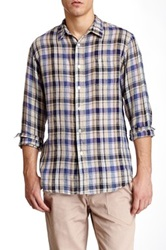 Creep By Hiroshi Awai Linen Plaid Resort Shirt Purple