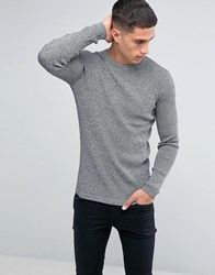 New Look Ribbed Muscle Fit Jumper In Grey Black Pattern