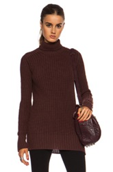 Rick Owens Fisherman Turtle Neck Wool Sweater In Red