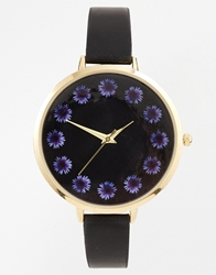 Asos Flower Large Face Slim Strap Watch Black