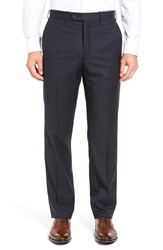 Jb Britches Men's J.B. Flat Front Check Wool Trousers Navy