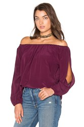 Chaser Open Sleeve Shirttail Boho Silk Top Purple
