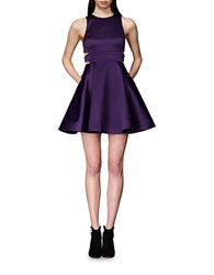 Cynthia Rowley Bonded Cutout Fit And Flare Dress Plum