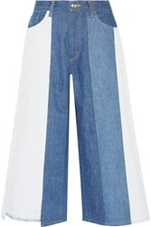 Facetasm Patchwork Mid Rise Wide Leg Jeans Blue