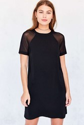 Silence And Noise Mesh Baseball Sleeve T Shirt Dress Black