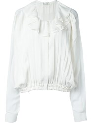 Faith Connexion Ruffle Collar Pleated Shirt White
