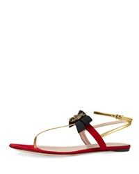Gucci Moody Bow Flat Thong Sandal Red Oro Size 36.5B 6.5B