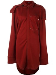 Ann Demeulemeester Pocket Detail Oversized Coat Red