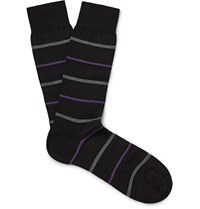Pantherella Stanhope Striped Erino Wool Blend Socks Black