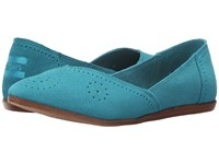 Toms Jutti Flat Turquoise Suede Perforated Women's Flat Shoes Blue