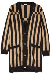 Loewe Oversized Striped Jacquard Knit Mohair Blend Cardigan Camel