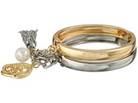 Guess Handcuff Style Bangle Set With Charms Bracelet Gold Silver Pearl Bracelet