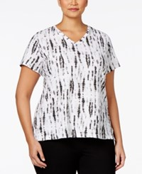 Styleandco. Style And Co. Plus Size Paisley V Neck T Shirt White Combo