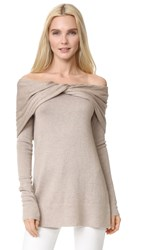 Derek Lam Off Shoulder Twist Sweater Oatmeal Melange