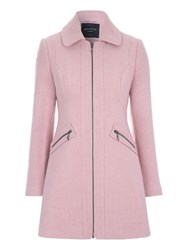 Jane Norman Pale Pink Zip Detail Boucle Coat Pastel Pink
