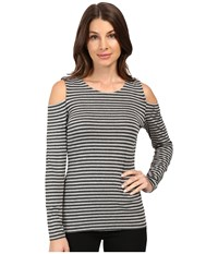 Vince Camuto Long Sleeve Parlour Stripe Cold Shoulder Top Light Heather Grey Women's Clothing Silver