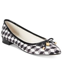 Anne Klein Ovi Pointed Toe Flats Black White Multi
