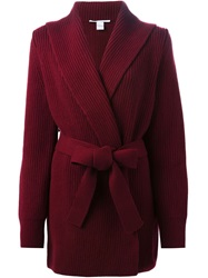 Rosetta Getty Ribbed Tie Front Cardigan Red