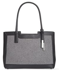 Calvin Klein Saffiano Leather Tote Black Grey Wool