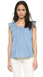 The Great. The Flutter Sleeve Top Sky Wash