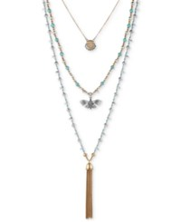 Lucky Brand Two Tone Blue Stone Multi Layer Pendant Necklace Two Tone