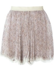 Etro Pleated Mini Skirt Nude And Neutrals