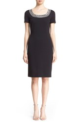 Women's St. John Collection Crystal Embellished Milano Knit Sheath Dress