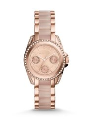 Michael Kors Mini Blair Chronograph Rose Goldtone Stainless Steel And Acetate Bracelet Watch